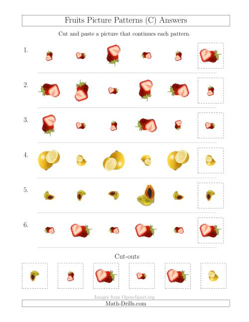 The Fruits Picture Patterns with Size and Rotation Attributes (C) Math Worksheet Page 2