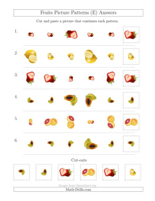 The Fruits Picture Patterns with Size and Rotation Attributes (E) Math Worksheet Page 2