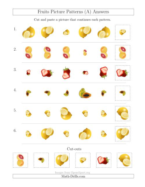 The Fruits Picture Patterns with Size and Rotation Attributes (All) Math Worksheet Page 2