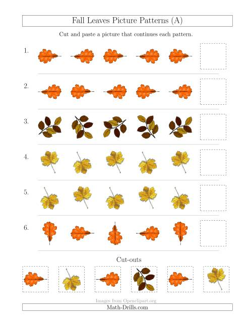 The Fall Leaves Picture Patterns with Rotation Attribute Only (A) Math Worksheet
