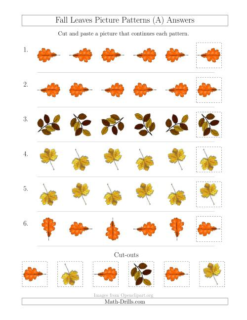 The Fall Leaves Picture Patterns with Rotation Attribute Only (A) Math Worksheet Page 2