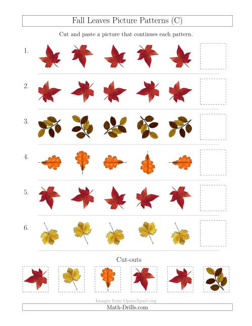 The Fall Leaves Picture Patterns with Rotation Attribute Only (C) Math Worksheet