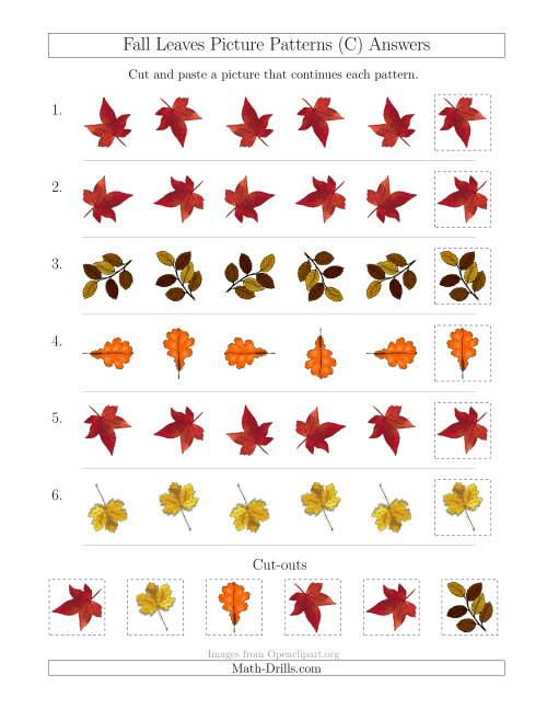 The Fall Leaves Picture Patterns with Rotation Attribute Only (C) Math Worksheet Page 2