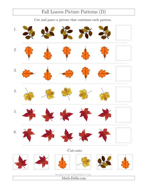 The Fall Leaves Picture Patterns with Rotation Attribute Only (D) Math Worksheet