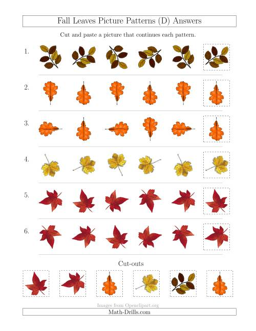 The Fall Leaves Picture Patterns with Rotation Attribute Only (D) Math Worksheet Page 2