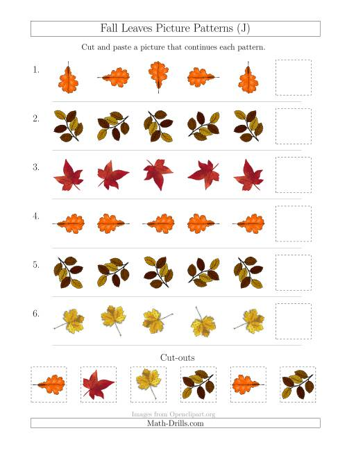 The Fall Leaves Picture Patterns with Rotation Attribute Only (J) Math Worksheet
