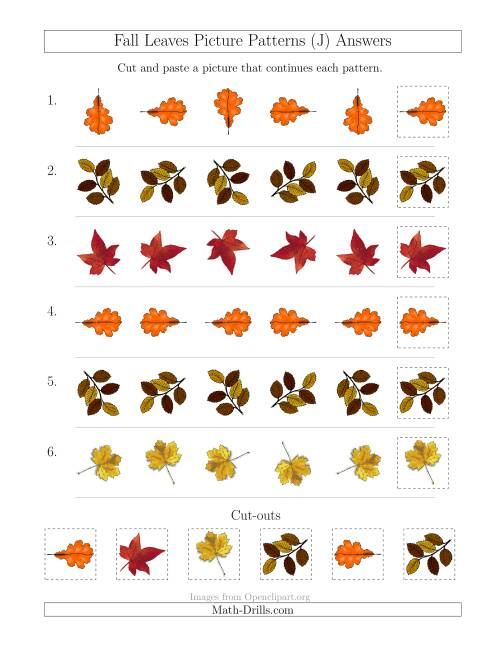 The Fall Leaves Picture Patterns with Rotation Attribute Only (J) Math Worksheet Page 2