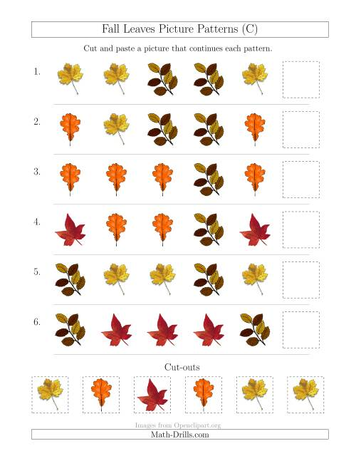 The Fall Leaves Picture Patterns with Shape Attribute Only (C) Math Worksheet