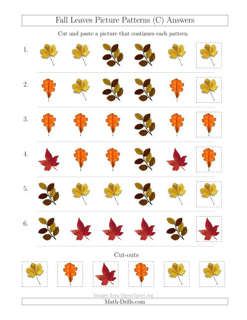 The Fall Leaves Picture Patterns with Shape Attribute Only (C) Math Worksheet Page 2