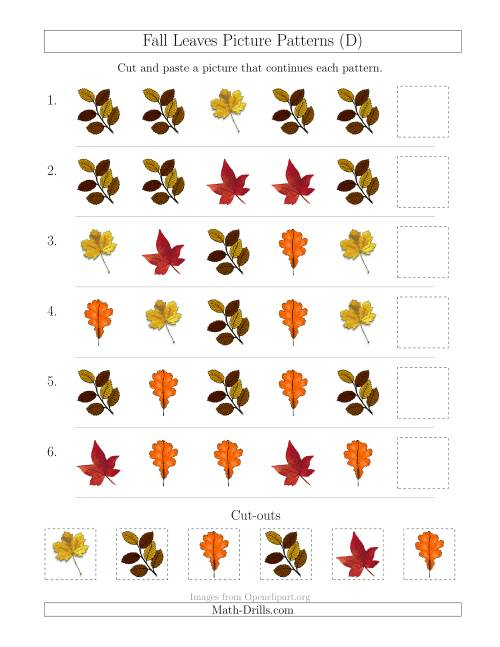 The Fall Leaves Picture Patterns with Shape Attribute Only (D) Math Worksheet