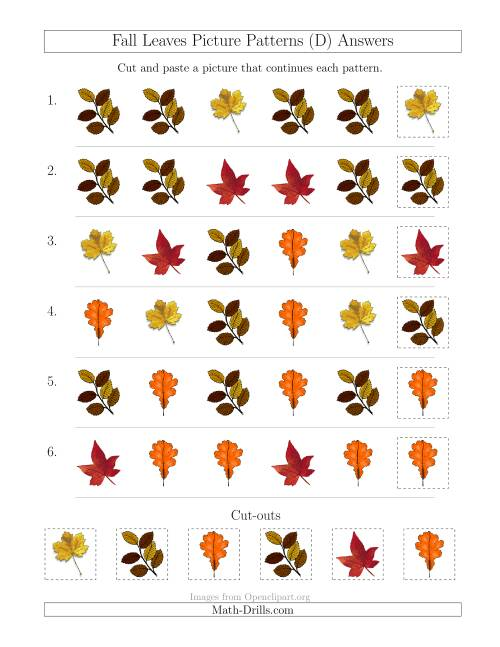 The Fall Leaves Picture Patterns with Shape Attribute Only (D) Math Worksheet Page 2