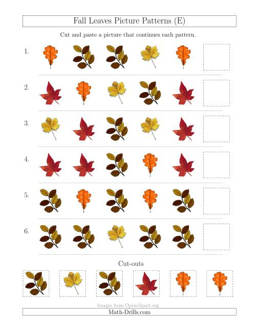 The Fall Leaves Picture Patterns with Shape Attribute Only (E) Math Worksheet