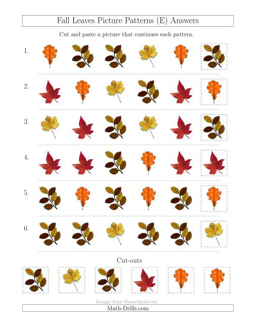 The Fall Leaves Picture Patterns with Shape Attribute Only (E) Math Worksheet Page 2