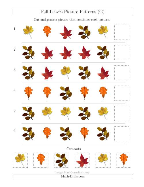 The Fall Leaves Picture Patterns with Shape Attribute Only (G) Math Worksheet