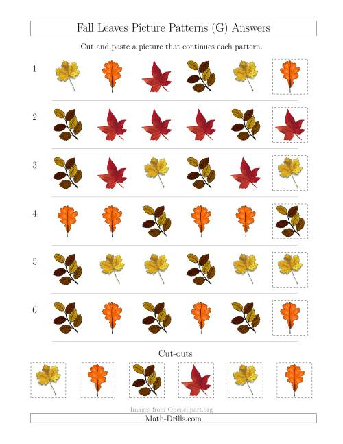 The Fall Leaves Picture Patterns with Shape Attribute Only (G) Math Worksheet Page 2