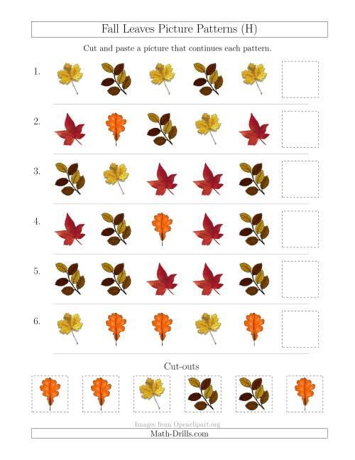 The Fall Leaves Picture Patterns with Shape Attribute Only (H) Math Worksheet