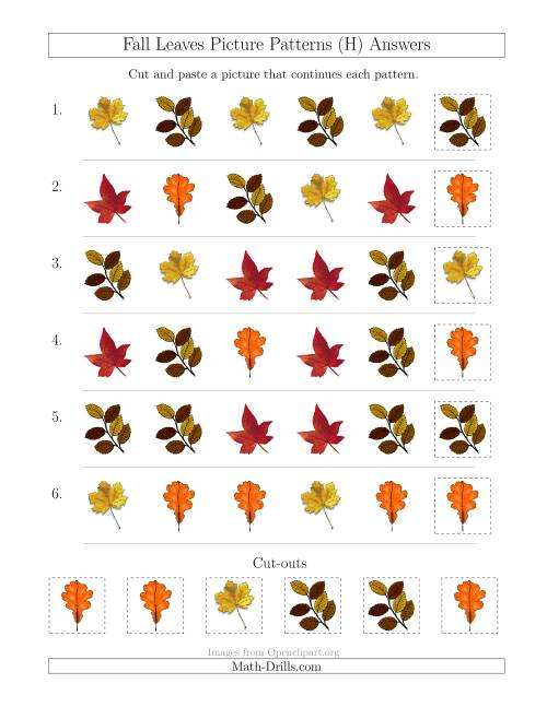 The Fall Leaves Picture Patterns with Shape Attribute Only (H) Math Worksheet Page 2