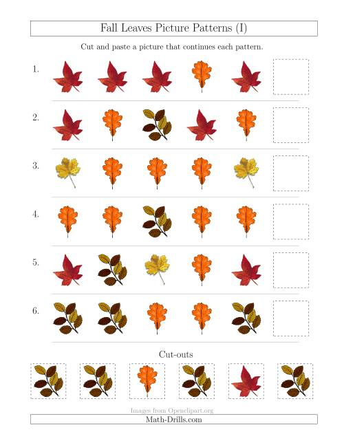 The Fall Leaves Picture Patterns with Shape Attribute Only (I) Math Worksheet