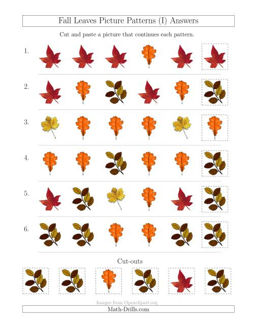 The Fall Leaves Picture Patterns with Shape Attribute Only (I) Math Worksheet Page 2