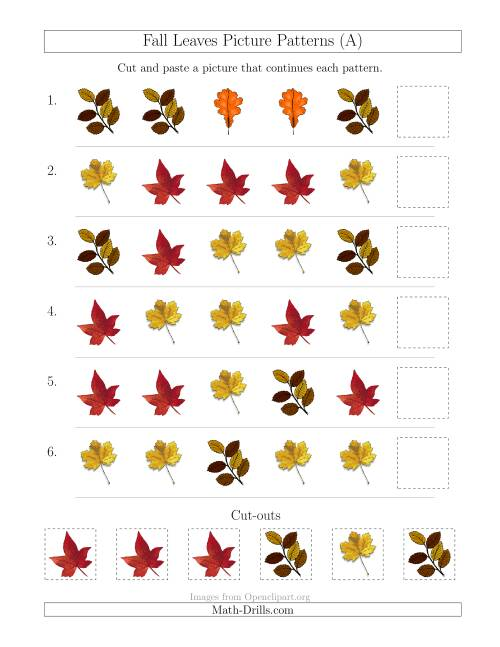 The Fall Leaves Picture Patterns with Shape Attribute Only (All) Math Worksheet