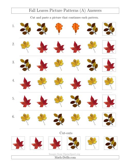 The Fall Leaves Picture Patterns with Shape Attribute Only (All) Math Worksheet Page 2