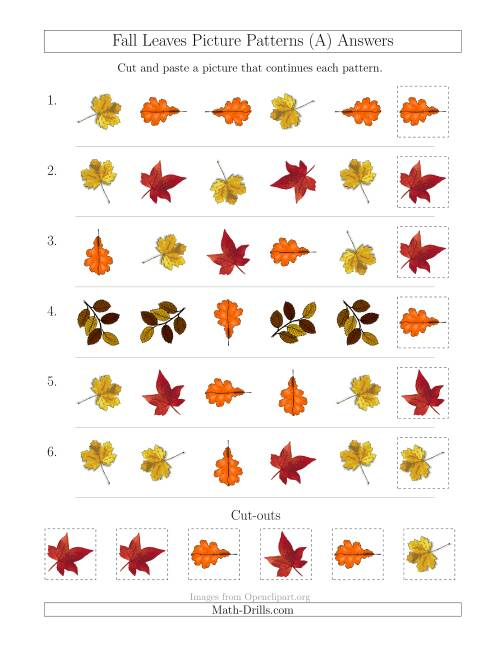 The Fall Leaves Picture Patterns with Shape and Rotation Attributes (A) Math Worksheet Page 2