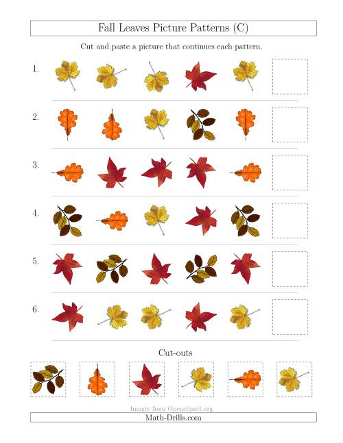 The Fall Leaves Picture Patterns with Shape and Rotation Attributes (C) Math Worksheet