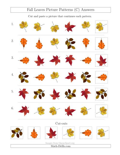 The Fall Leaves Picture Patterns with Shape and Rotation Attributes (C) Math Worksheet Page 2