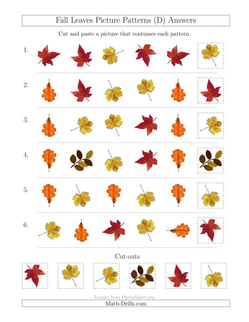 The Fall Leaves Picture Patterns with Shape and Rotation Attributes (D) Math Worksheet Page 2
