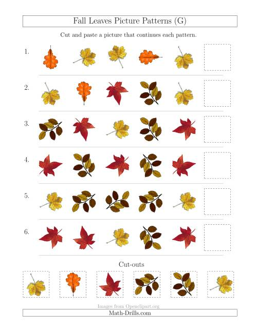 The Fall Leaves Picture Patterns with Shape and Rotation Attributes (G) Math Worksheet