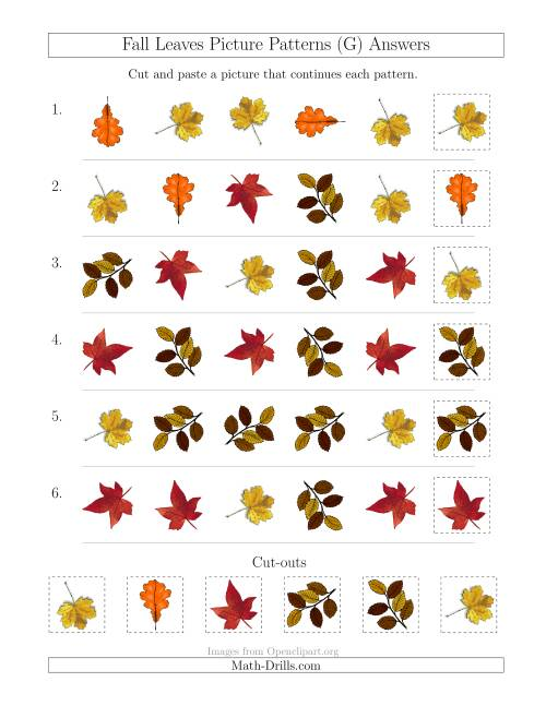 The Fall Leaves Picture Patterns with Shape and Rotation Attributes (G) Math Worksheet Page 2