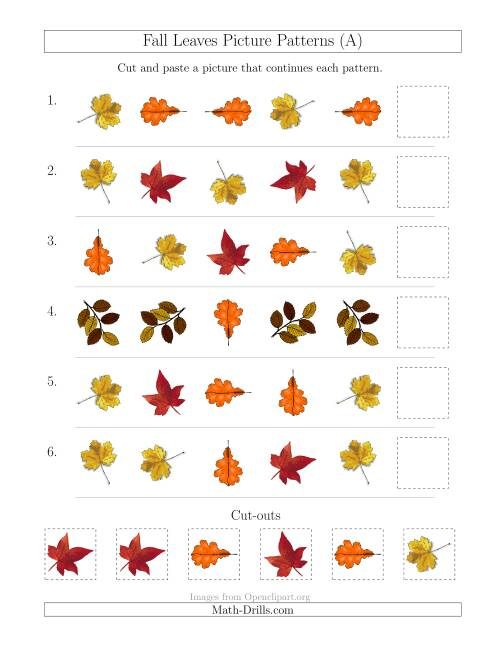 The Fall Leaves Picture Patterns with Shape and Rotation Attributes (All) Math Worksheet