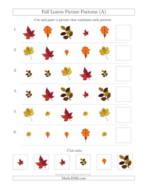 fall leaves picture patterns with shape and size attributes a patterning worksheet. Black Bedroom Furniture Sets. Home Design Ideas
