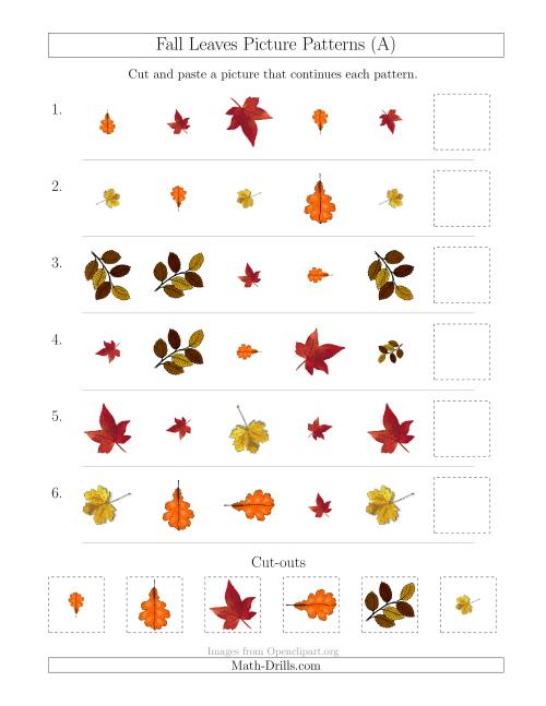 fall leaves picture patterns with shape size and rotation attributes a patterning worksheet. Black Bedroom Furniture Sets. Home Design Ideas
