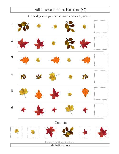 The Fall Leaves Picture Patterns with Shape, Size and Rotation Attributes (C) Math Worksheet