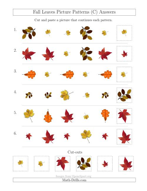 The Fall Leaves Picture Patterns with Shape, Size and Rotation Attributes (C) Math Worksheet Page 2