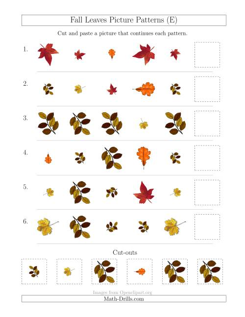 The Fall Leaves Picture Patterns with Shape, Size and Rotation Attributes (E) Math Worksheet