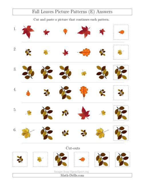 The Fall Leaves Picture Patterns with Shape, Size and Rotation Attributes (E) Math Worksheet Page 2