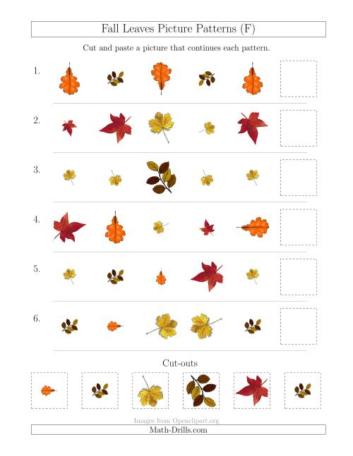 The Fall Leaves Picture Patterns with Shape, Size and Rotation Attributes (F) Math Worksheet