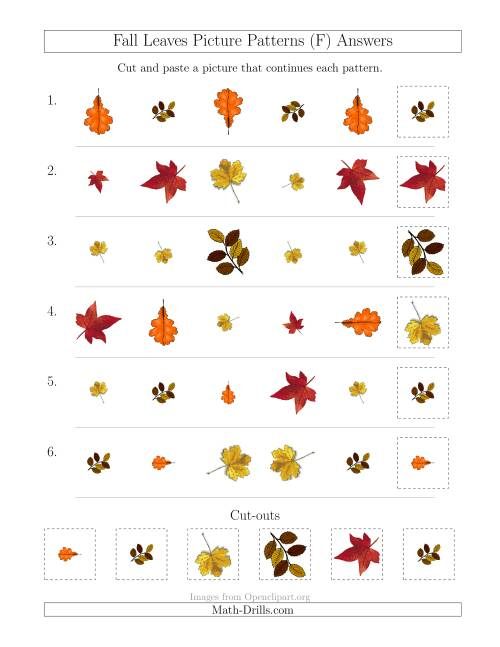 The Fall Leaves Picture Patterns with Shape, Size and Rotation Attributes (F) Math Worksheet Page 2
