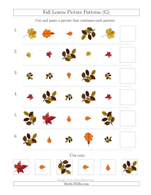 The Fall Leaves Picture Patterns with Shape, Size and Rotation Attributes (G) Math Worksheet