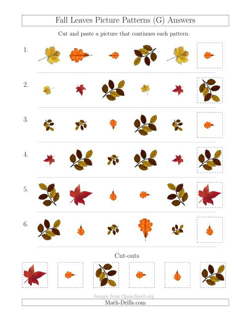 The Fall Leaves Picture Patterns with Shape, Size and Rotation Attributes (G) Math Worksheet Page 2