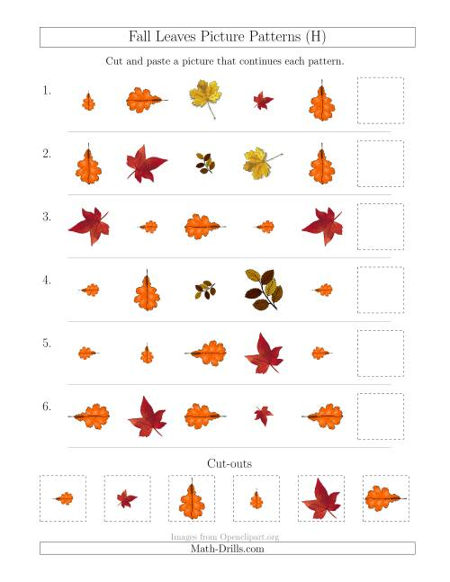 The Fall Leaves Picture Patterns with Shape, Size and Rotation Attributes (H) Math Worksheet