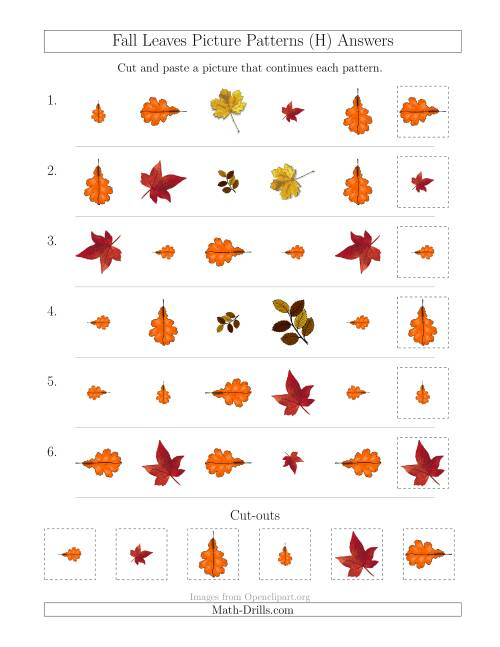 The Fall Leaves Picture Patterns with Shape, Size and Rotation Attributes (H) Math Worksheet Page 2