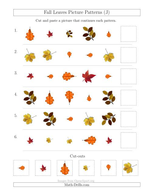 The Fall Leaves Picture Patterns with Shape, Size and Rotation Attributes (J) Math Worksheet