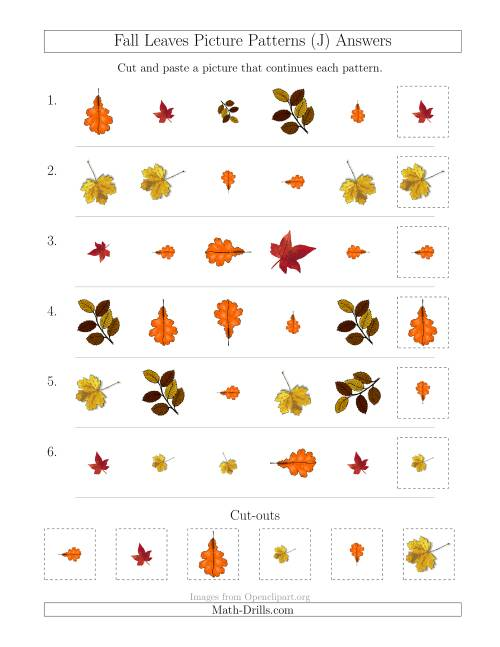 The Fall Leaves Picture Patterns with Shape, Size and Rotation Attributes (J) Math Worksheet Page 2