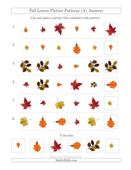 The Fall Leaves Picture Patterns with Shape, Size and Rotation Attributes (All) Math Worksheet Page 2
