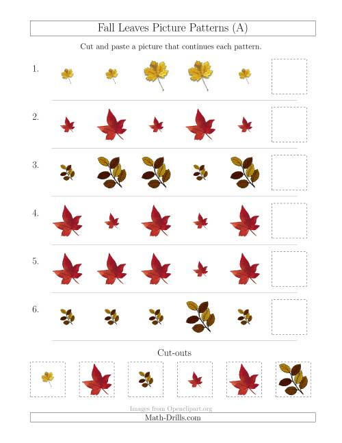 The Fall Leaves Picture Patterns with Size Attribute Only (A) Math Worksheet