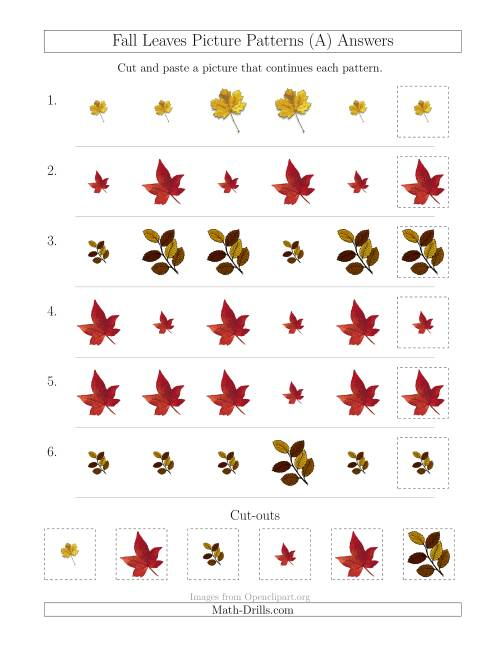 The Fall Leaves Picture Patterns with Size Attribute Only (A) Math Worksheet Page 2