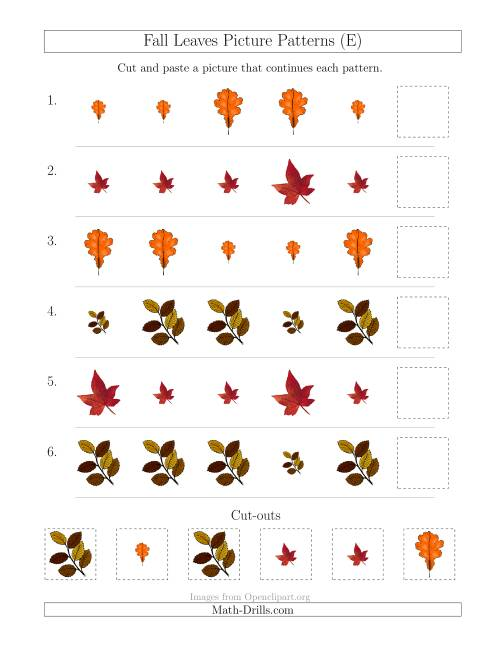 The Fall Leaves Picture Patterns with Size Attribute Only (E) Math Worksheet
